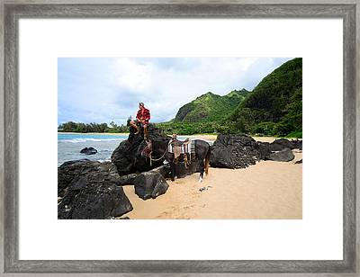 Beach Rider Framed Print by Kathy Yates
