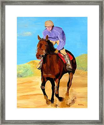 Framed Print featuring the painting Beach Rider by Rodney Campbell