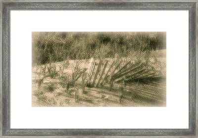 Beach Sand Dune - Jersey Shore Framed Print by Angie Tirado