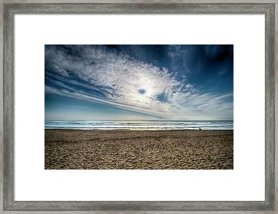 Beach Sand With Clouds - Spiagggia Di Sabbia Con Nuvole Framed Print