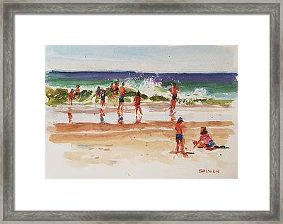 Beach Scene, Afternoon Framed Print by Peter Salwen