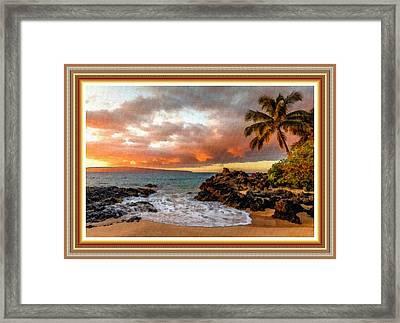 Beach Scene At Lexington Bay L B With Alt. Decorative Ornate Printed Frame. Framed Print
