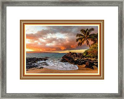 Beach Scene At Lexington Bay L B With Decorative Ornate Printed Frame. Framed Print