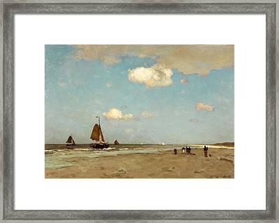 Beach Scene Framed Print by Jan Hendrik Weissenbruch