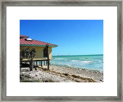 Beach Shack Framed Print by Peter  McIntosh