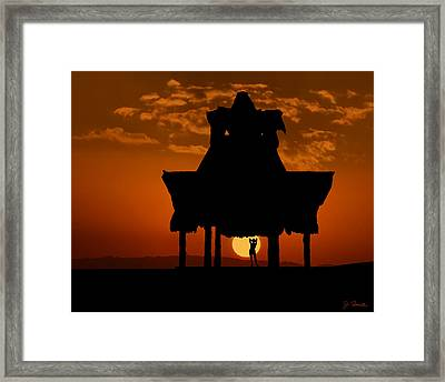 Framed Print featuring the photograph Beach Shelter At Sunset by Joe Bonita