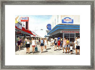 Beach/shore I Boardwalk Ocean City Md - Original Fine Art Painting Framed Print