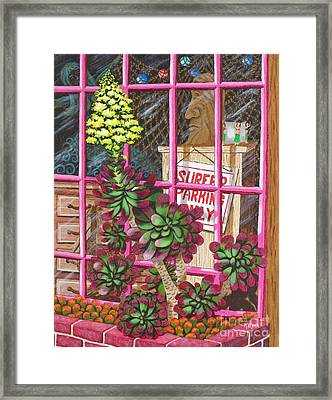 Framed Print featuring the painting Beach Side Storefront Window by Katherine Young-Beck