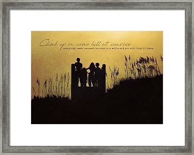 Beach Silhouette Quote Framed Print by JAMART Photography