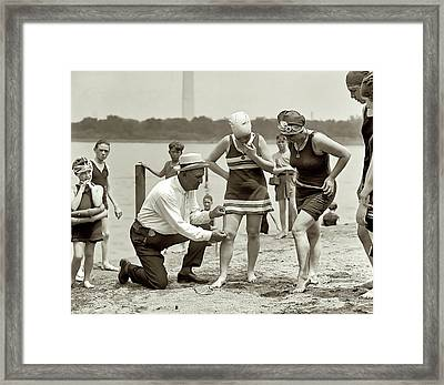 Beach Skirt Patrol 1922 Framed Print by Daniel Hagerman