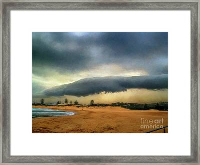 Framed Print featuring the photograph Beach Storm At Sunset By Kaye Menner by Kaye Menner