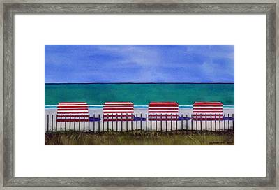 Beach Stripes Framed Print by Cory Clifford
