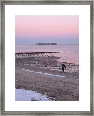 Beach Stroll Framed Print by John Scates