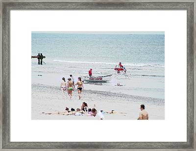 Beach Stroll  Stone Harbor  Nj Framed Print by Herb Vandepol