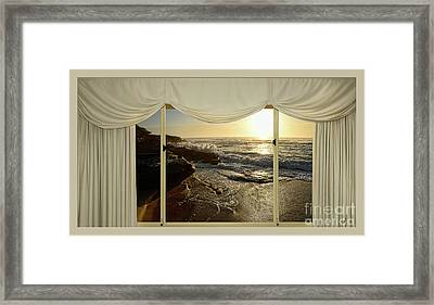 Beach Sunrise From Your Home Or Office By Kaye Menner Framed Print