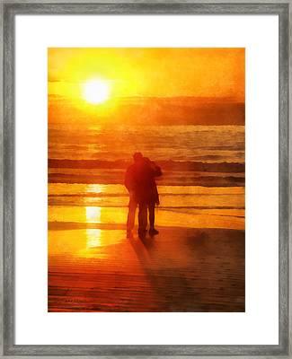 Framed Print featuring the digital art Beach Sunrise Love by Francesa Miller