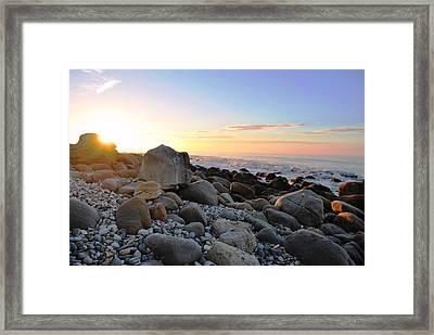 Beach Sunrise Over Rocks Framed Print