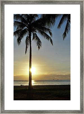 Framed Print featuring the photograph Beach Sunset by Amee Cave