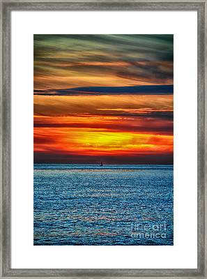 Framed Print featuring the photograph Beach Sunset And Boat by Mariola Bitner