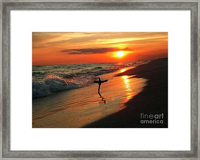 Beach Sunset And Cross Framed Print