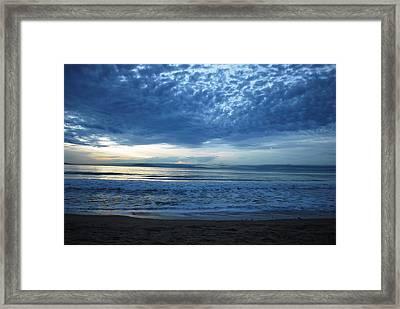 Beach Sunset - Blue Clouds Framed Print