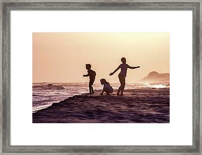 Beach Sunset Dance Framed Print