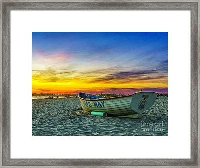Beach Sunset In Cape May Framed Print