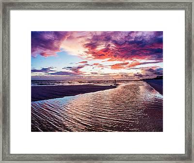 Beach Sunset Ripple Time Framed Print