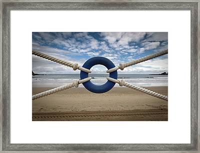 Beach Through Lifeguard Tied With Ropes Framed Print