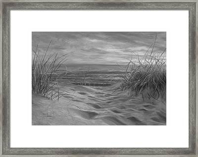 Beach Time Serenade - Black And White Framed Print by Lucie Bilodeau