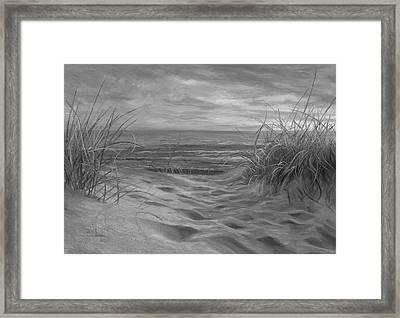 Beach Time Serenade - Black And White Framed Print