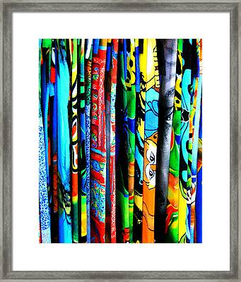 Beach Towels Framed Print by Perry Webster