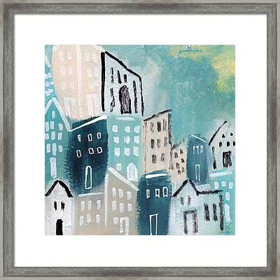 Beach Town- Art By Linda Woods Framed Print