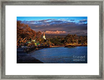 Beach Town Of Kailua-kona On The Big Island Of Hawaii Framed Print