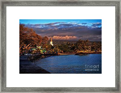 Beach Town Of Kailua-kona On The Big Island Of Hawaii Framed Print by Sam Antonio Photography