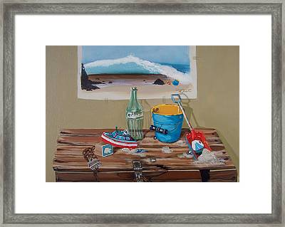 Framed Print featuring the painting Beach Toys by Susan Roberts