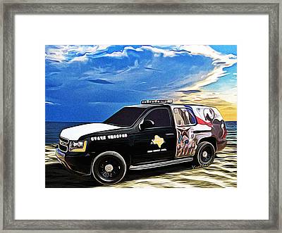 Beach Trooper 4x4 Cruiser On A Texas Morning Framed Print by Chas Sinklier