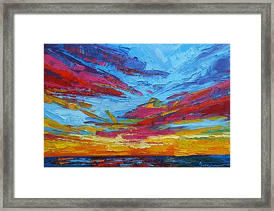 Beach Tropical Sunset Modern Impressionist Palette Knife Oil Painting Framed Print