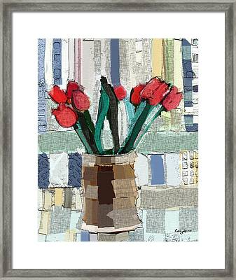 Framed Print featuring the painting Beach Tulips by Carrie Joy Byrnes