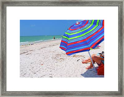 Beach Umbrella Framed Print by Carol McCutcheon