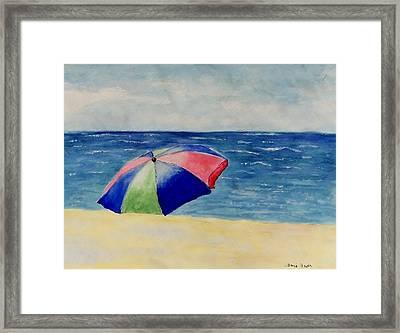 Beach Umbrella Framed Print by Jamie Frier
