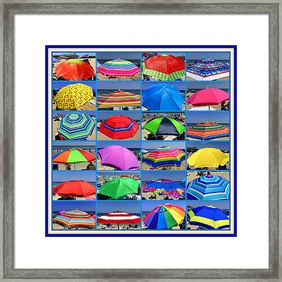 Beach Umbrella Medley Framed Print by Mitchell R Grosky