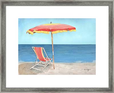 Beach Umbrella Of Stripes Framed Print by Arline Wagner
