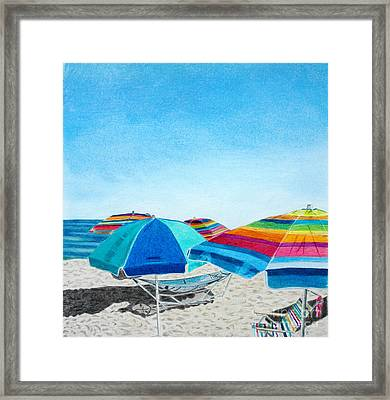 Beach Umbrellas Framed Print by Glenda Zuckerman