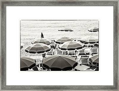 Beach Umbrellas In Nice Framed Print