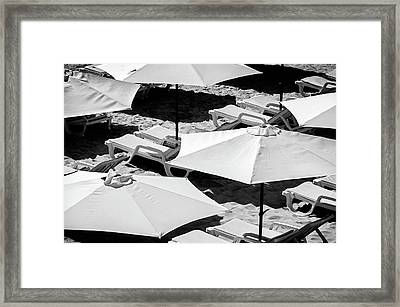 Framed Print featuring the photograph Beach Umbrellas by Marion McCristall