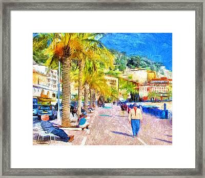 Beach Walk At Nice Framed Print