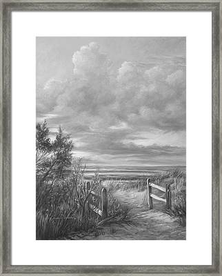 beach walk black and white framed print by lucie bilodeau