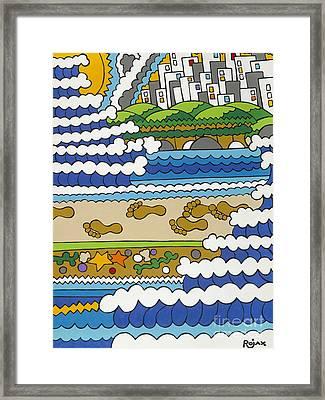 Beach Walk Foot Prints Framed Print by Rojax Art