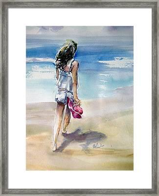Beach Walk Framed Print by Shirley Roma Charlton